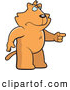 Clip Vector Cartoon Art of a Grumpy Brown Mad Cat Angrily Pointing by Cory Thoman