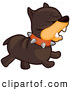 Clip Vector Cartoon Art of a Mad Brown Bulldog Canine Running Towards the Right by BNP Design Studio