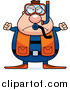 Clip Vector Cartoon Art of a Mad Chubby Scuba Diver Man by Cory Thoman