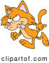 Clip Vector Cartoon Art of a Mad Orange Cat Walking to the Left by Toonaday