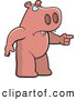 Clip Vector Cartoon Art of a Mad Pig Angrily Pointing to the Right by Cory Thoman