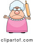 Clip Vector Cartoon Art of a Mad Plump Granny Waving a Rolling Pin in Anger by Cory Thoman