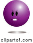 Clip Vector Cartoon Art of a Mad Purple Ball Emoticon Character Looking Left by Pams Clipart
