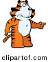 Clip Vector Cartoon Art of a Mad Tiger Pointing to the Right by Cory Thoman