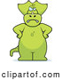 Clip Vector Cartoon Art of a Pissed Green Triceratops Standing with His Hands on His Hips by Cory Thoman