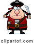 Clip Vector Cartoon Art of a Sad or Plump Female Pirate Holding up a Fist and Sword by Cory Thoman