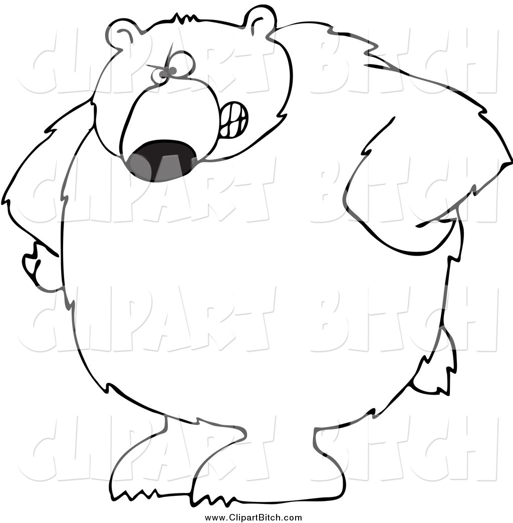 Clip Vector Cartoon Art of a Black and White Bear with His ... (1024 x 1044 Pixel)