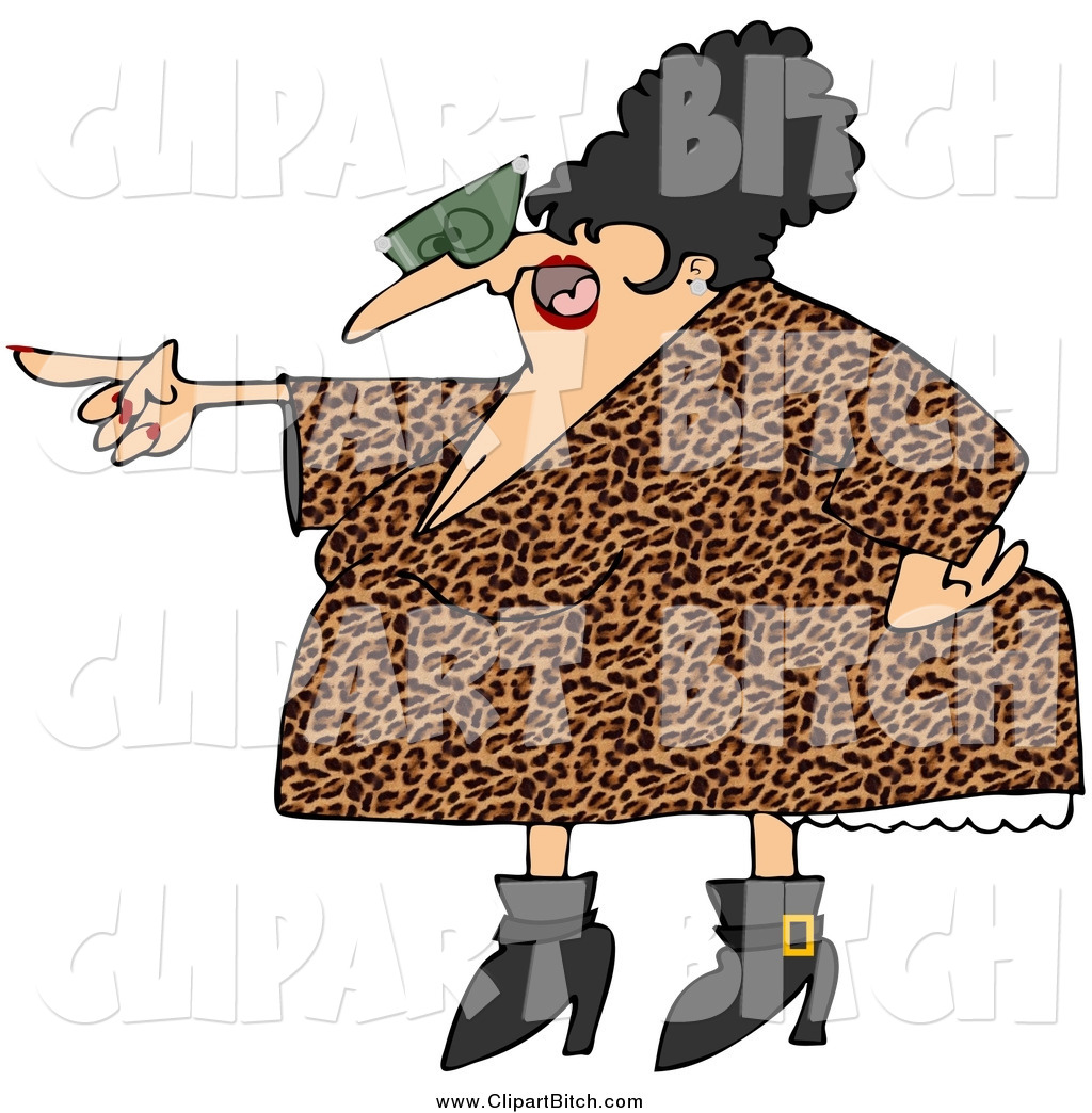 eca2443a54 Clip Vector Cartoon Art of a Pointing Chubby Angry Woman in a Leopard Print  Dress