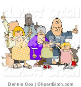 Clip Art of a Diverse Group of Angry People of All Ages and Mixed Ethnicities, Standing with a Dog and a Cat and Flipping People off by Djart