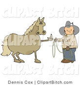 Clip Art of a Fussy and Angry Brown Horse Flipping off a Confused Cowboy Man Who Is Trying to Put a Lasso Around Him by Djart