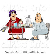 Clip Art of a Mad Caucasian Woman, a Wife, with Her Hair up in Curlers, Holding a Frying Pan with Two Eggs in It and Flipping off Her Husband by Djart
