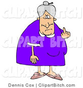 Clip Art of a Mean Elderly Caucasian Lady with Gray Hair Flipping off the Viewer by Djart