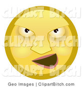 Clip Art of a Mean Yellow Smiley Face Bully Grinning at His Prey by AtStockIllustration