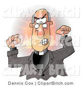 Clip Art of a Temperamental Bald Preacher by Djart