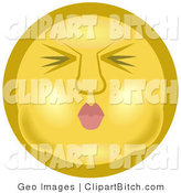 Clip Art of a Yellow Smiley Face Puckering Its Lips and Holding Its Breath in Its Cheeks Before Going Under the Water by AtStockIllustration