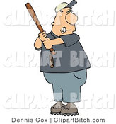 Clip Art of an Angry Baseball Batter by Djart