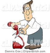 Clip Art of an Annoyed Man Cutting the Phone Cord by Djart