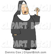 Clip Vector Art of a Frustrated Catholic Nun in Black and White Waving Her Fist in the Air While Arguing by Djart