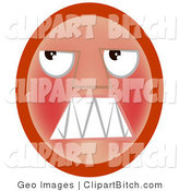Clip Vector Art of a Frustrated Red Emoticon Face Looking Upwards and Baring Its Teeth in Anger by AtStockIllustration