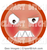 Clip Vector Art of a Furious Red Emoticon Face Baring Its Sharp Fangs or Teeth by AtStockIllustration