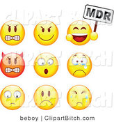 Clip Vector Art of a Group of Nine Mad, Mean, Devil, Scared, Crying and Upset Red and Yellow Emoticon Faces by Beboy