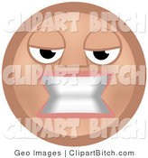 Clip Vector Art of a Mean Beige Smiley Face Woman Baring Her Teeth in Anger by AtStockIllustration