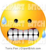 Clip Vector Art of a Nervous Sweating Yellow Emoticon Face Gritting His Teeth by Tonis Pan