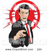 Clip Vector Art of a Pissed Caucasian Businessman Pointing and Yellowing, with a Red Circle by David Rey