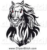 Clip Vector Art of a Red Eyed Black and White Horse Head by Vector Tradition SM