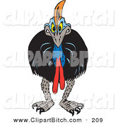 Clip Vector Art of an Angry Cassowary Facing Forward by Dennis Holmes Designs