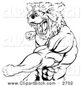 Clip Vector Cartoon Art of a Black and White Angry Muscular Bear Man Punching by AtStockIllustration