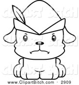 Clip Vector Cartoon Art of a Black and White Cute Mad Robin Hood Puppy Dog by Cory Thoman
