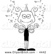 Clip Vector Cartoon Art of a Cartoon Black and White Lineart Mad New Years Party Butterfly by Cory Thoman