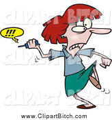 Clip Vector Cartoon Art of a Cartoon Furious Businesswoman Fed up with Her Cell Phone by Toonaday
