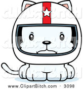Clip Vector Cartoon Art of a Cartoon Mad White Kitten Cat Race Car Driver by Cory Thoman