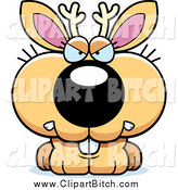 Clip Vector Cartoon Art of a Jackalope with a Mad Expression by Cory Thoman