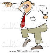 Clip Vector Cartoon Art of a Mad Business Man Pointing by Djart