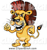 Clip Vector Cartoon Art of a Mad Lion Waving His Fist by Vector Tradition SM