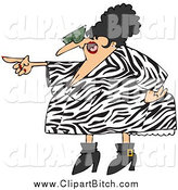 Clip Vector Cartoon Art of a Pointing Angry Woman in a Zebra Dress by Djart