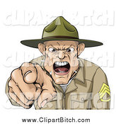 Clip Vector Cartoon Art of a Screaming Drill Sargent Spitting As He Shouts by AtStockIllustration