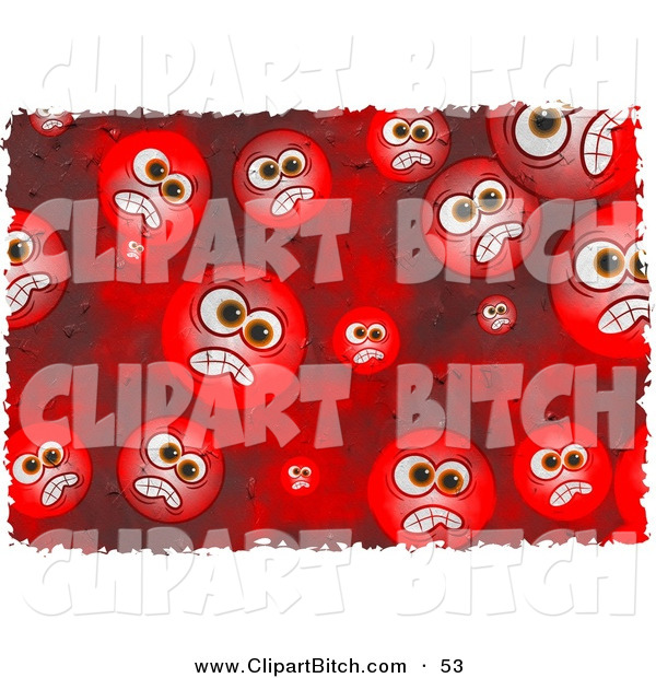 Clip Art of a Background of Round Red Grungy Mad Faces