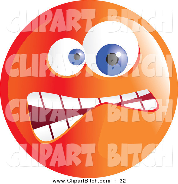 Clip Vector Art of a Crazy Mad Orange Emoticon Face on White