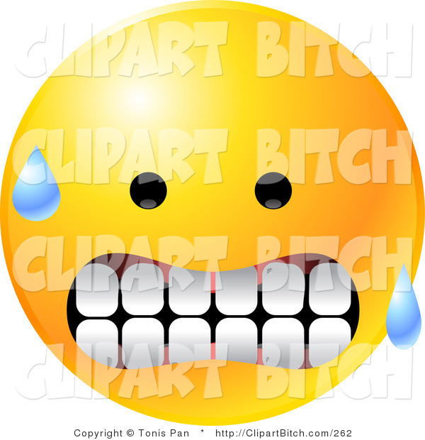 Clip Vector Art of a Nervous Sweating Yellow Emoticon Face Gritting His Teeth