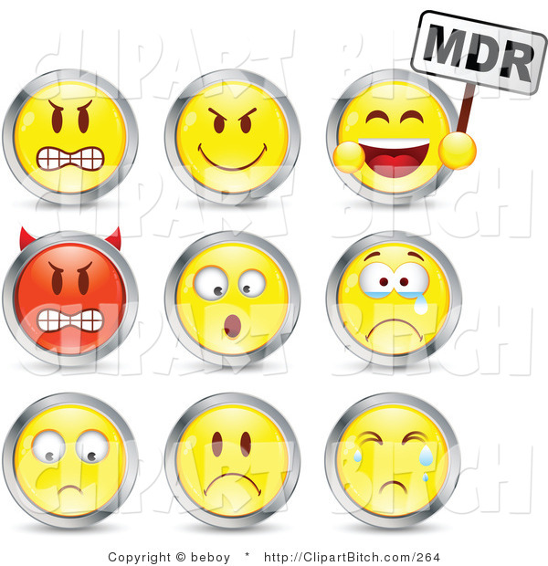 Clip Vector Art of a Set of Nine Mad, Mean, Devil, Scared, Crying and Upset Red and Yellow Emoticon Faces Circled in Chrome