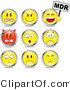 Clip Vector Art of a Set of Nine Mad, Mean, Devil, Scared, Crying and Upset Red and Yellow Emoticon Faces Circled in Chrome by Beboy