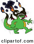 Clip Vector Cartoon Art of a Cartoon Smoking Green Dragon with His Tips on Fire by Zooco
