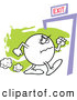Clip Vector Cartoon Art of a Mad Moodie Character Angrily Making His Way to an Exit by Johnny Sajem